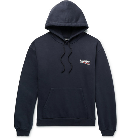 Balenciaga - Printed Fleece-back Cotton-blend Jersey Hoodie - Midnight blue