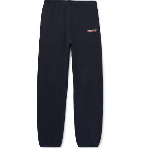 Balenciaga - Tapered Logo-print Fleece-back Cotton-blend Jersey Sweatpants - Navy