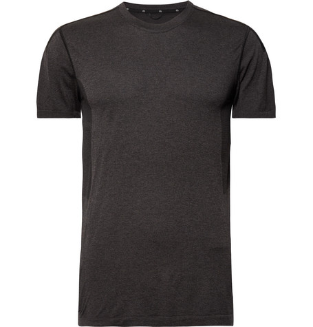 Reigning Champ - Performance Mesh-panelled Mélange Jersey T-shirt - Black