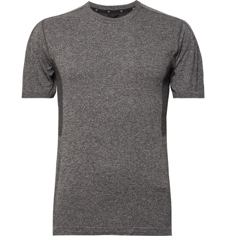 Reigning Champ - Performance Mesh-panelled Mélange Jersey T-shirt - Charcoal