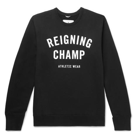 Reigning Champ - Slim-fit Logo-print Loopback Cotton-jersey Sweatshirt - Black