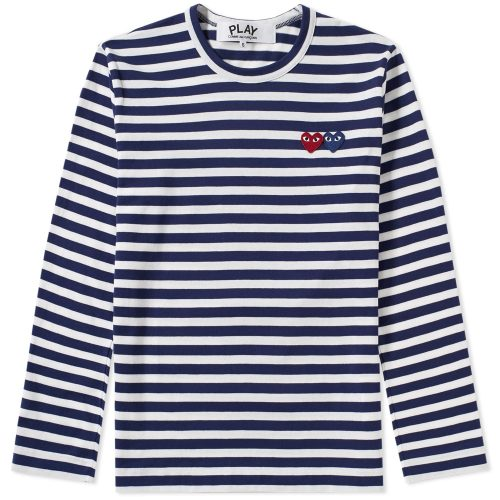 Mens Comme des Garcons Play Double Heart Long Sleeve Stripe White & Navy T-Shirt
