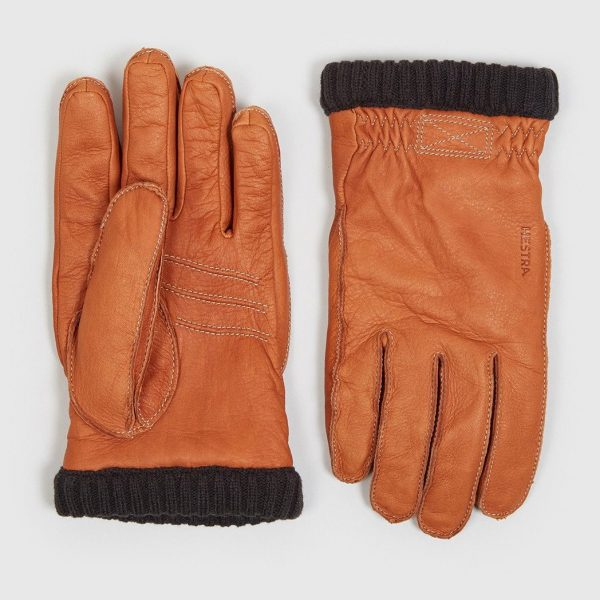 Mens Hestra Deerskin Primaloft Rib Gloves in Cork Brown