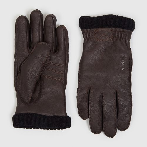 Mens Hestra Deerskin Primaloft Rib Gloves in Dark Brown