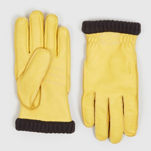 Mens Hestra Deerskin Primaloft Rib Gloves in Natural Yellow