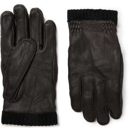 Mens Hestra Fleece-lined Full-grain Leather Gloves in Brown