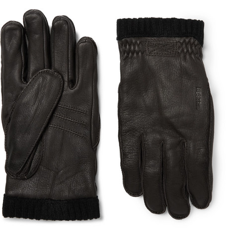 Hestra - Fleece-lined Full-grain Leather Gloves - Brown