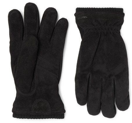 Mens Hestra Nathan Suede Gloves in Black