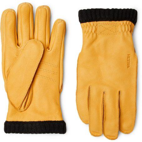 Mens Hestra Primaloft Fleece-lined Full-grain Leather Gloves in Yellow