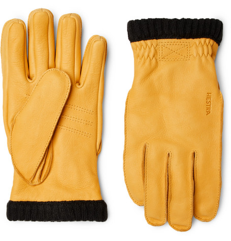 Hestra - Primaloft Fleece-lined Full-grain Leather Gloves - Yellow