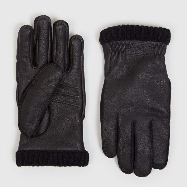 Mens Hestra Primaloft Rib Gloves in Black