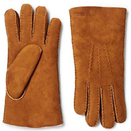 Mens Hestra Shearling Gloves in Brown
