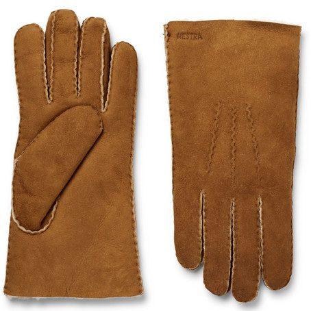 Mens Hestra Shearling Gloves in Tan