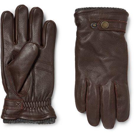 Mens Hestra Utsjo Fleece-lined Full-grain Leather And Wool-blend Gloves in Brown