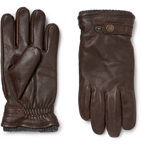 Hestra - Utsjö Fleece-lined Full-grain Leather And Wool-blend Gloves - Brown