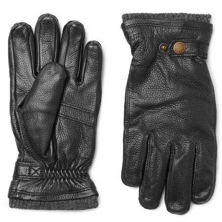 Mens Hestra Utsjo Fleece-lined Full-grain Leather Gloves in Black