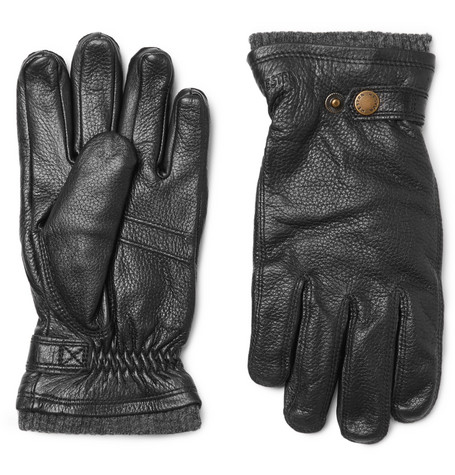 Hestra - Utsjö Fleece-lined Full-grain Leather Gloves - Black