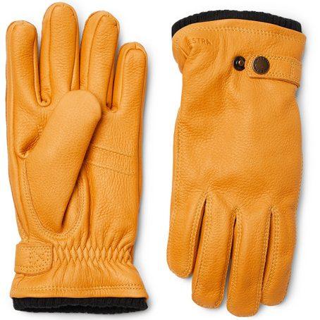 Mens Hestra Utsjo Fleece-lined Full-grain Leather Gloves in Yellow