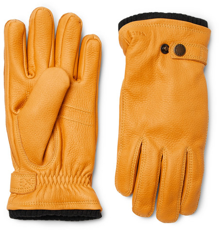 Hestra - Utsjö Fleece-lined Full-grain Leather Gloves - Yellow