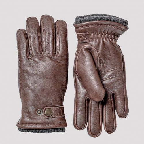 Mens Hestra Utsjo Sport Leather Gloves in Espresso Brown