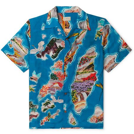 KAPITAL - Camp-collar Printed Voile Shirt - Blue