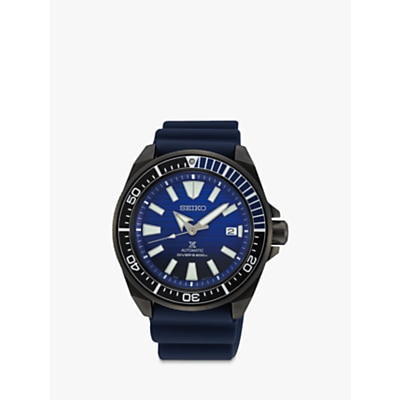 Seiko SRPD09K1 Men's Save The Ocean Date Automatic Silicone Strap Watch, Navy