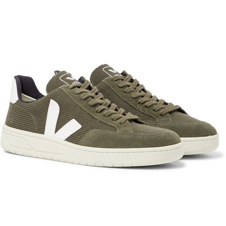 Veja - V-12 Leather And Rubber-trimmed Suede And B-mesh Sneakers - Army green