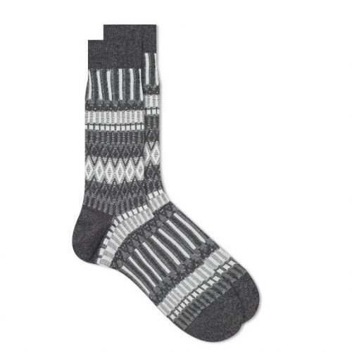 Mens Ayame Socks Basket Lunch Basic Sock in Charcoal