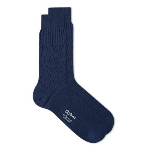 Mens Ayame Socks Basket Lunch Solid Sock in Navy