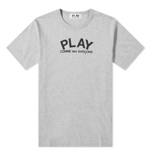 Mens Comme des Garcons Play Back Logo Heart T-Shirt in Grey