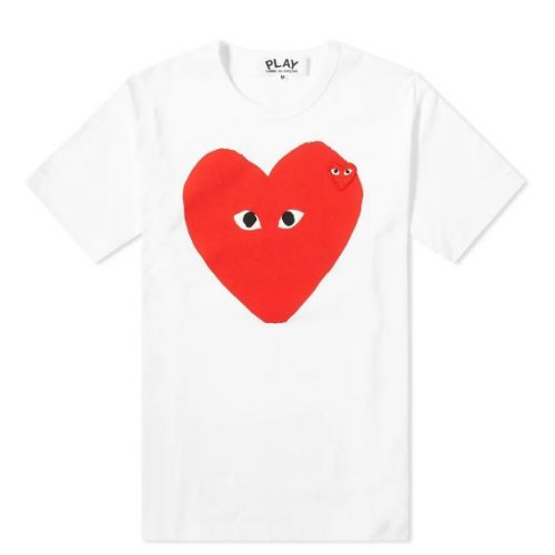 Mens Comme des Garcons Play Big Heart Logo Tee in White