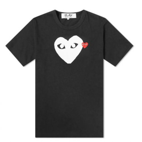 Mens Comme des Garcons Play Double Heart Logo Tee in Black