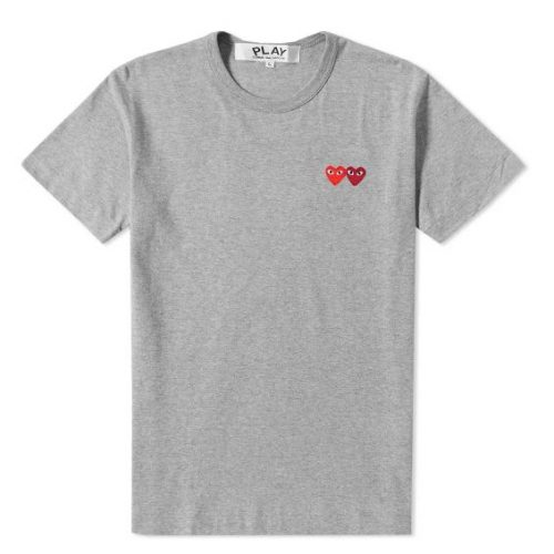 Mens Comme des Garcons Play Double Heart T-Shirt in Grey