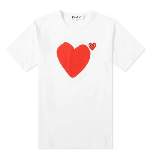Mens Comme des Garcons Play Front & Back Heart Tee in White
