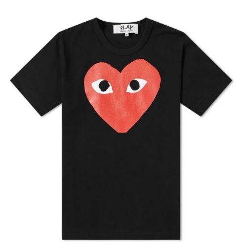 Mens Comme des Garcons Play Heart Logo Tee in Black & Red