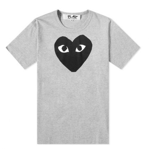 Mens Comme des Garcons Play Heart Logo Tee in Grey