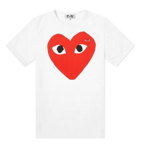 Mens Comme des Garcons Play Large Double Heart Logo Tee in White
