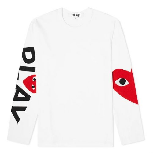 Mens Comme des Garcons Play Long Sleeve Arm Logo & Heart T-Shirt in White