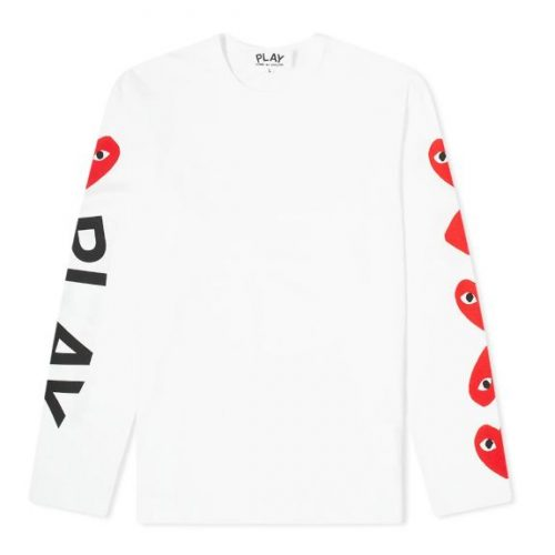 Mens Comme des Garcons Play Long Sleeve Multi Heart & Logo T-Shirt in White