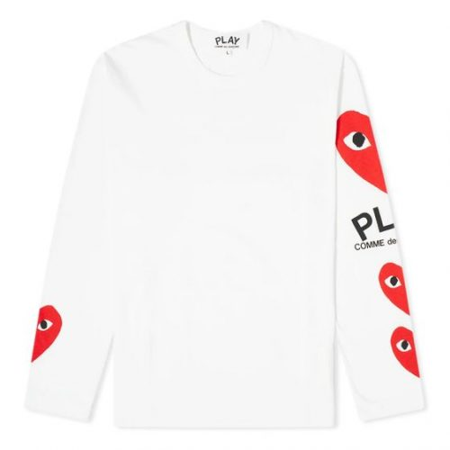 Mens Comme des Garcons Play Long Sleeve Multi Heart T-Shirt in White