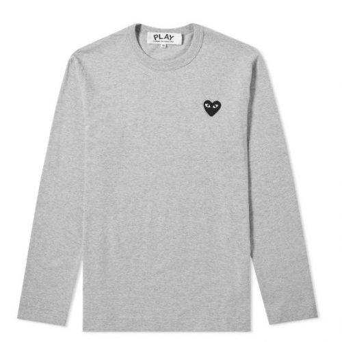 Mens Comme des Garcons Play Long Sleeve Tee in Grey