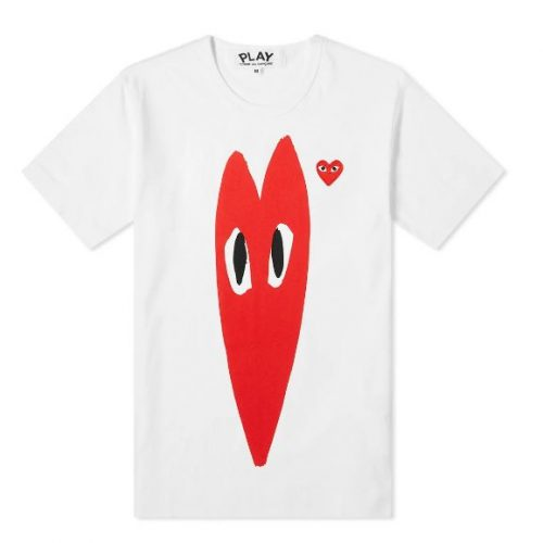 Mens Comme des Garcons Play Stretch Heart Tee in White