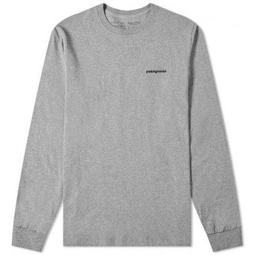 Patagonia Long Sleeve P-6 Logo Responsibili-Tee Heather Grey
