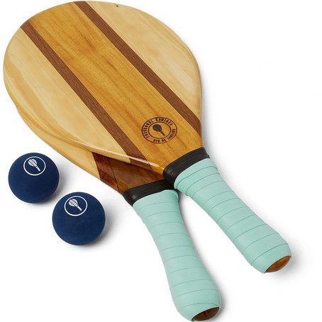 Mens Frescobol Carioca Trancoso Wooden Beach Bat And Ball Set in Green