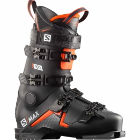 Mens Salomon S/Max 100 Ski Boots in Black / Orange / White