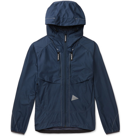 And Wander - Raschel Reflective-trimmed Shell Hooded Jacket - Blue