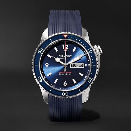 Bremont - Supermarine S500 Automatic 43mm Stainless Steel And Rubber Watch, Ref. No. S500/bl - Blue mens