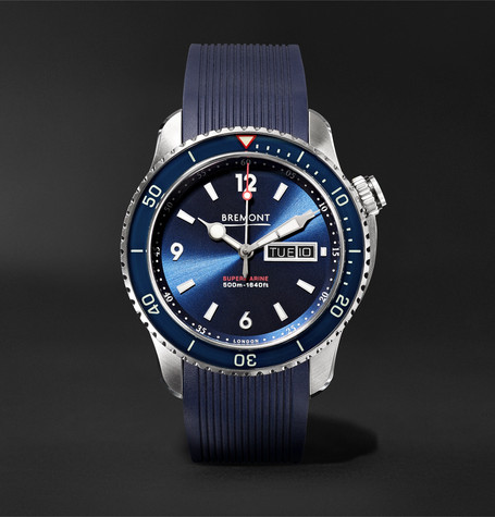Bremont - Supermarine S500 Automatic 43mm Stainless Steel And Rubber Watch, Ref. No. S500/bl - Blue