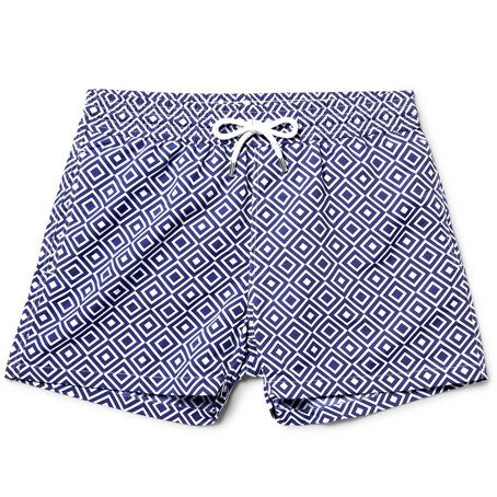 Mens Frescobol Carioca Angra Slim-fit Short-length Printed Swim Shorts in Blue