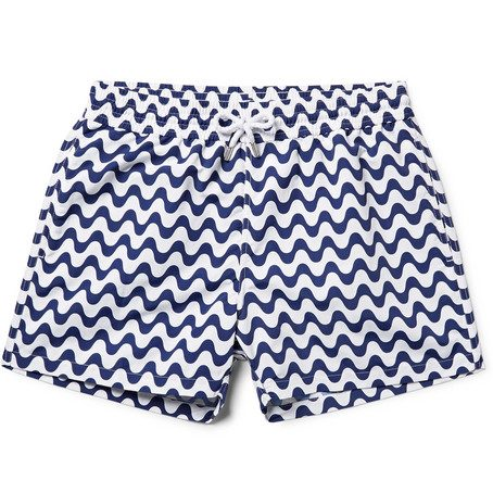 Mens Frescobol Carioca Copacabana Slim-fit Short-length Printed Swim Shorts in Navy